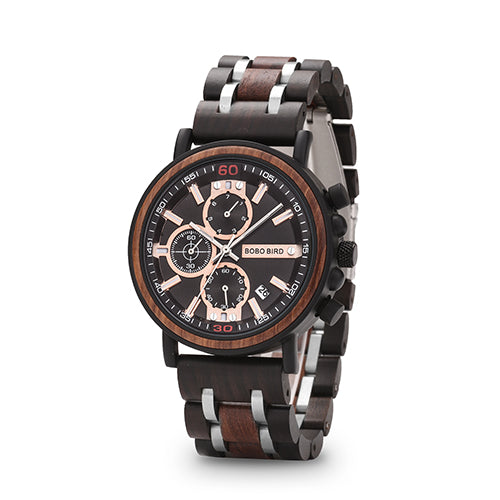 Men Luxury Wood Men's Wrist Chronograph Stopwatch Auto Date relogio masculino Quartz Wristwatch Wooden Box