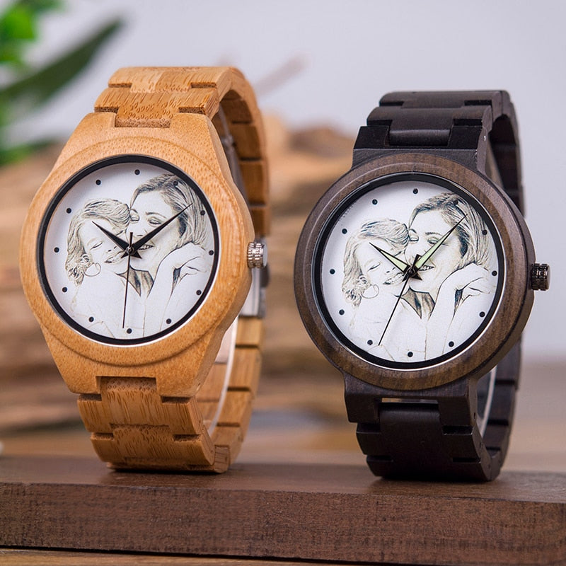 Customers Photos UV Printing Customize Wooden Watches