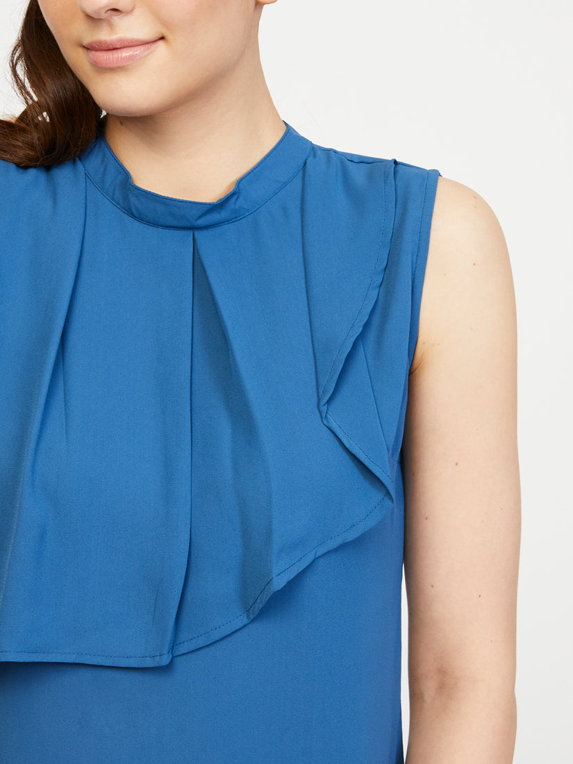 Front Frill Top - Princess Blue