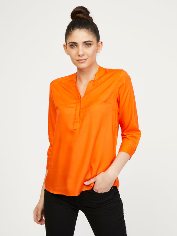 Rayon Stand Collar Shirt - Flame Orange