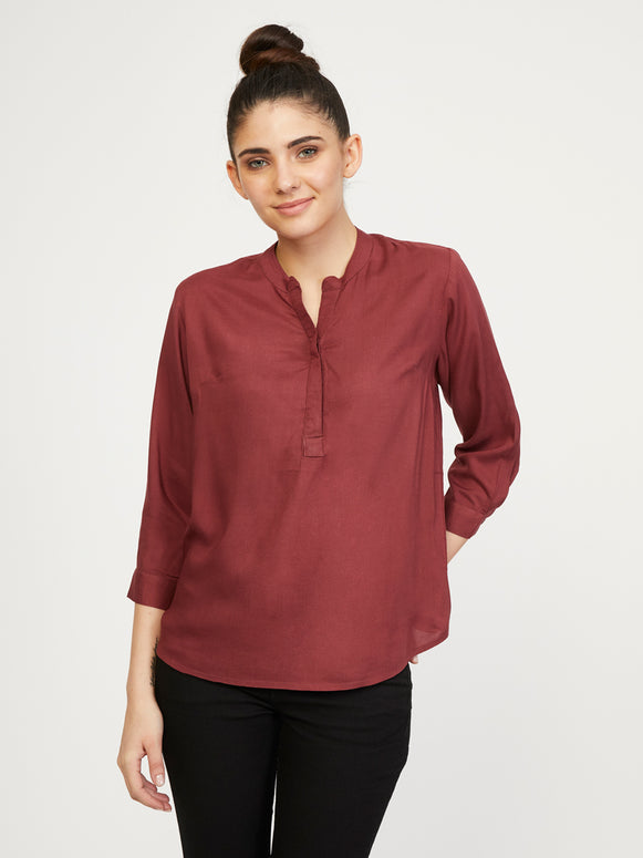 Rayon Stand Collar Shirt - Vineyard Mist
