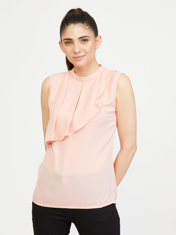Front Frill Top - Rosewater