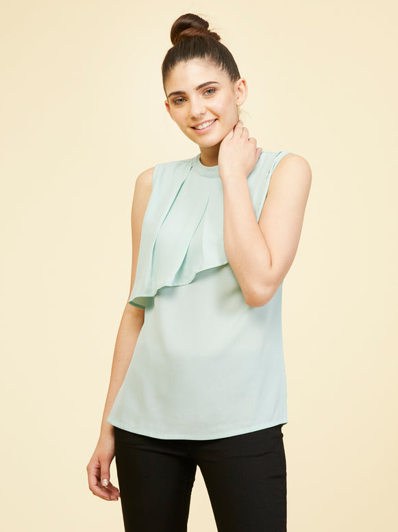 Front Frill Top - Soothing Sea