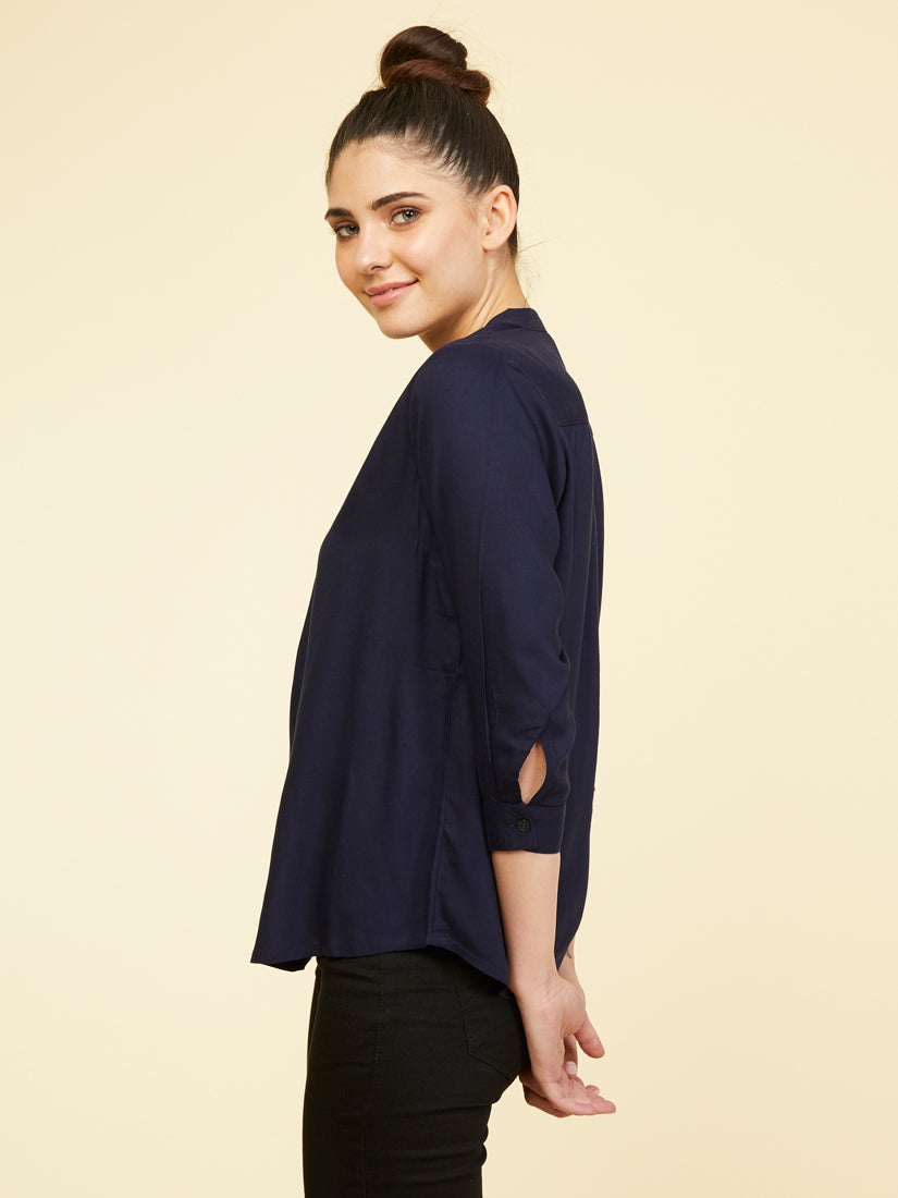Rayon Stand Collar Shirt - Dark Navy