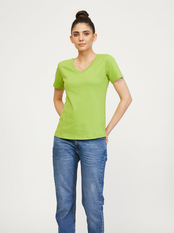 Boston Supima V Neck - Macaw Green