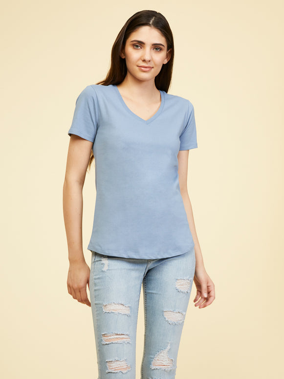 Boston Supima V Neck - Faded Denim