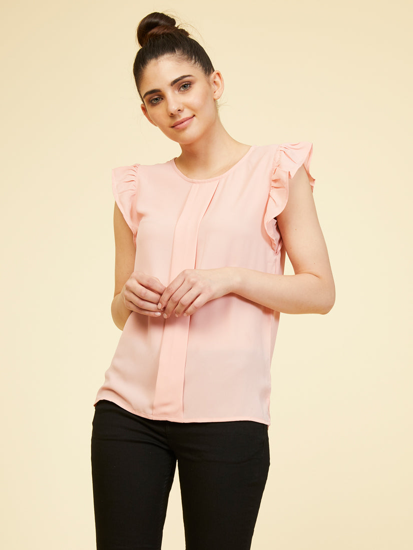 Ruffled Sleeve Top - Rosewater