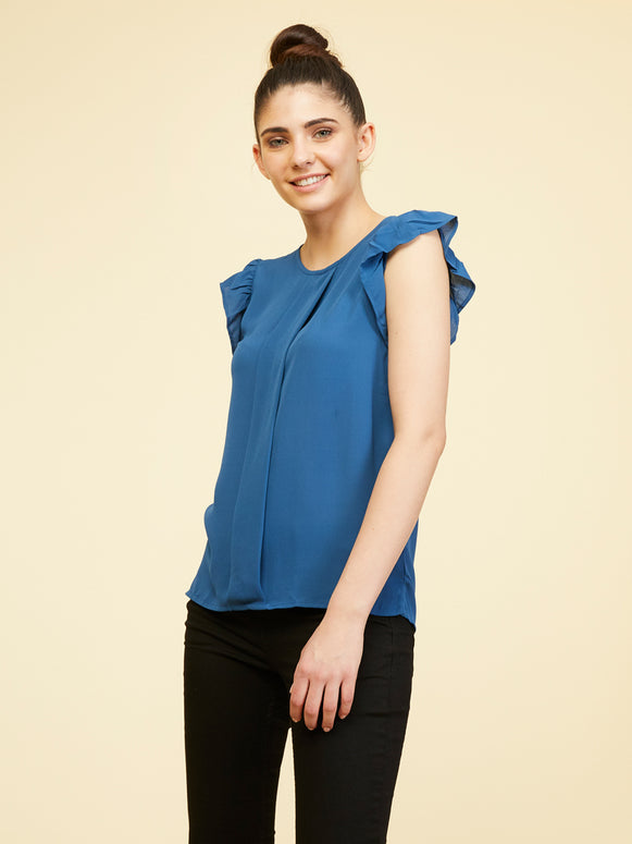 Ruffled Sleeve Top - Princess Blue