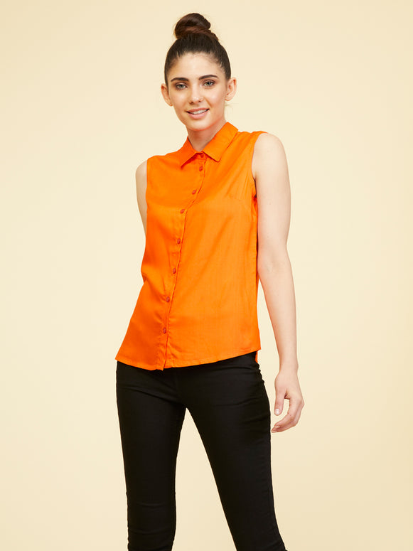 Rayon Sleeveless Collar Shirt - Flame Orange