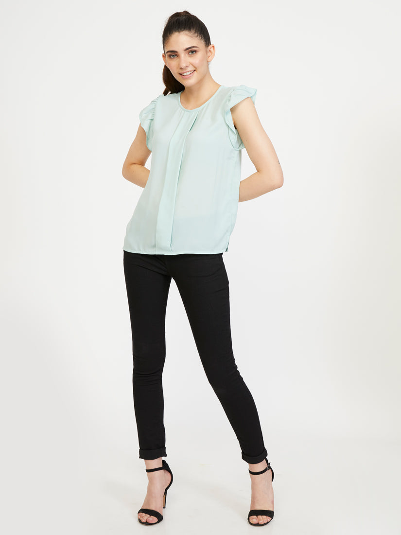 Ruffled Sleeve Top - Soothing Sea