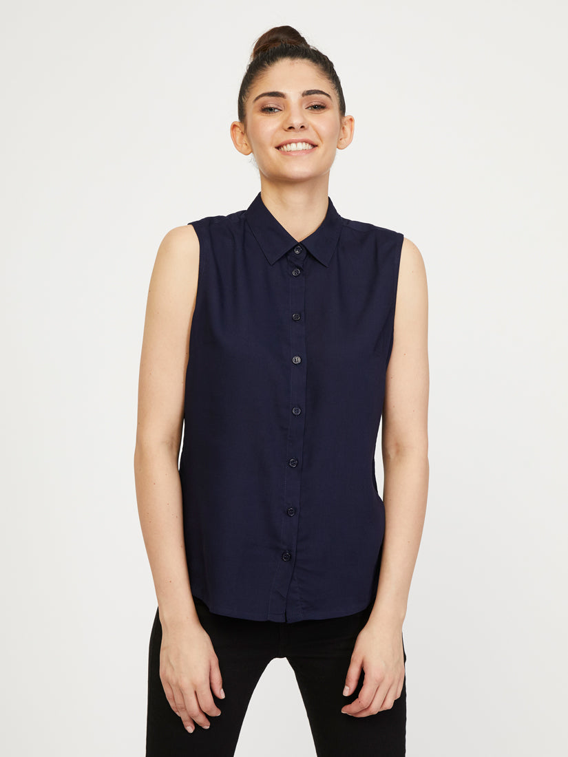 Rayon Sleeveless Collar Shirt - Dark Navy