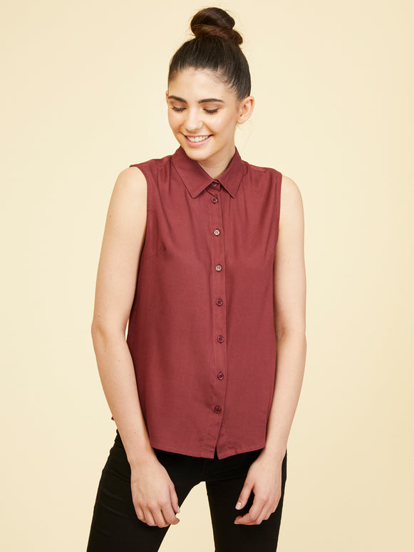 Rayon Sleeveless Collar Shirt - Vineyard Mist
