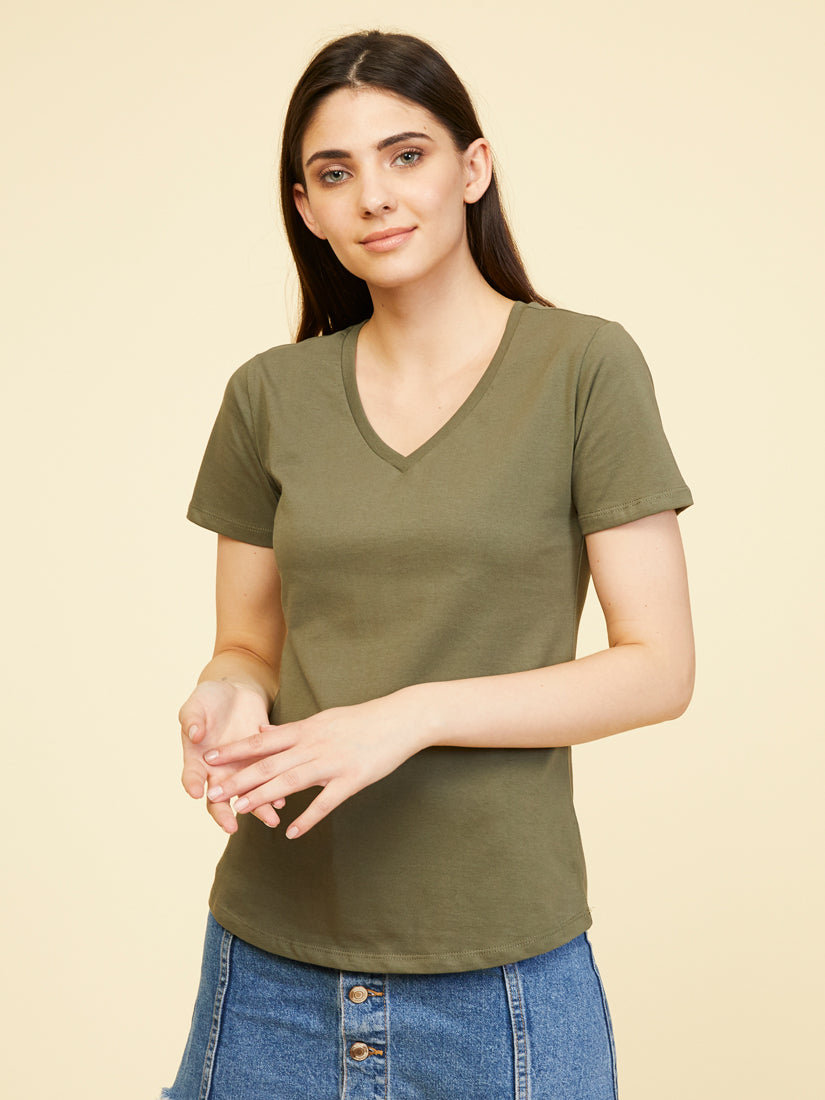 Boston Supima V Neck - Beetle Green