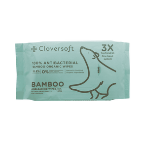 Cloversoft Unbleached Bamboo 99.9% Antibacterial Organic Wipes