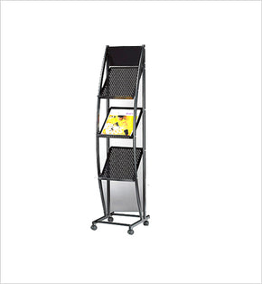 Magazine Stand - 3 narrow racks (Black)