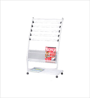 Newspaper & Magazine Stand - 6 Newspapers (Silver-White)