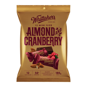 Whittaker 's Mini Dark Chocolate Bar - Almond & Cranberry  (12 x 35g)