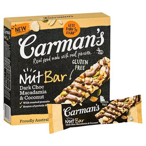 Carman's Nut Bars - Dark Choc, Macadamia & Coconut (5 x 32g)