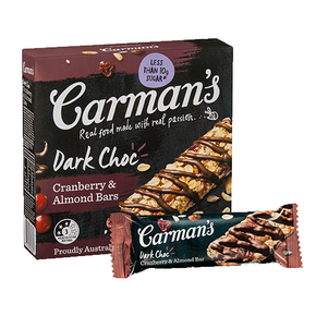 Carman's Muesli Bars - Dark Chocolate with Cranberry & Almond (6 x 35g)