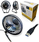 Ga Gadgets BLACK Portable Metal USB Retro Desk Fan