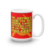 "15oz Mug (Red) - Design ""Яussiaи Chat-Бots."""