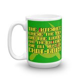 "15oz Mug (Green) - Design ""Яussiaи Chat-Бots."""