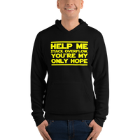 "Classic Hoodie (Black) - Design ""Help Me, Stack Overflow. You're My Only Hope."""