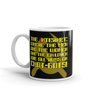 "11oz Mug (Black) - Design ""Яussiaи Chat-Бots."""