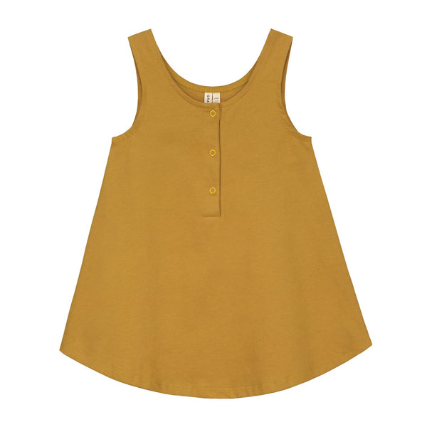 Sleeveless dress in mustard yellow organic cotton jersey with a u-shaped front KiND gray label