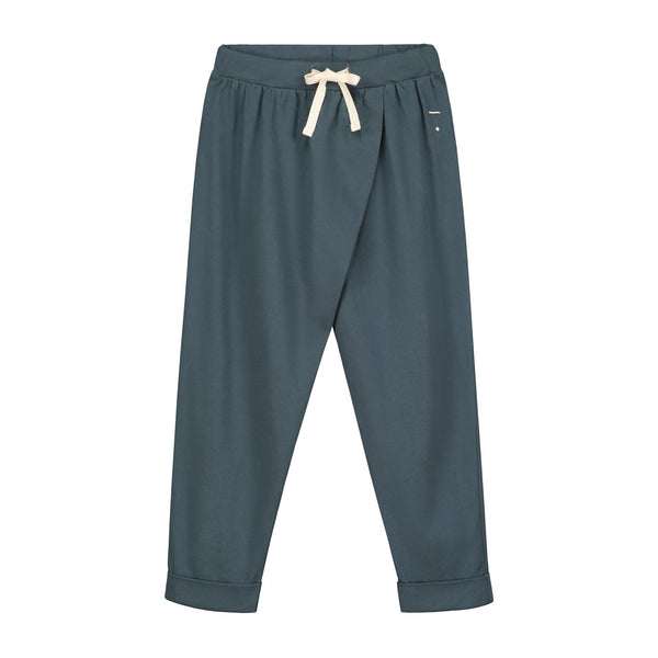 Blue wrap trousers jogging pants in organic cotton with white drawstring