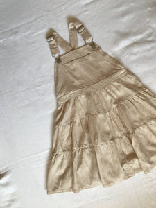 BEIGE COTTON DUNGAREE DRESS 7 YEARS