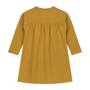 pleated dress in mustard gray label organic cotton