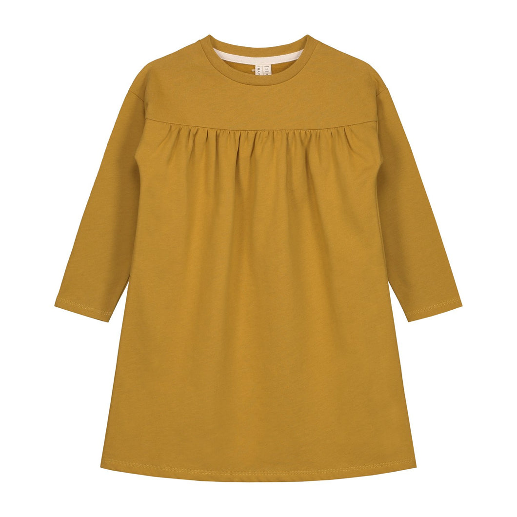 pleated dress in mustard gray label organic cotton front