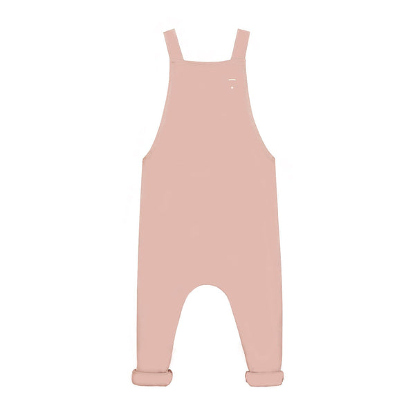 KiND gray label Vintage pink salopette dungarees in 100% organic cotton jersey elasticated waistband on the back with 1 button to fasten the shoulder straps