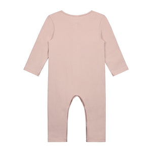 KiND organic cotton vintage pink playsuit for baby gray label back