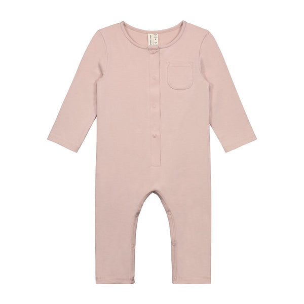 KiND organic cotton vintage pink playsuit for baby gray label front