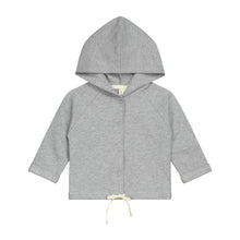 Grey baby hooded cardigan with white draw strings made of organic cotton