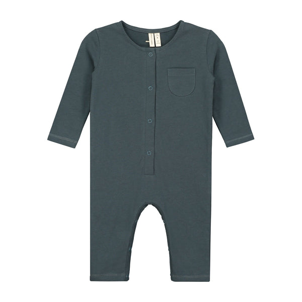 KiND blue grey playsuit for baby gray label front