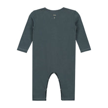 KiND blue grey playsuit for baby gray label back