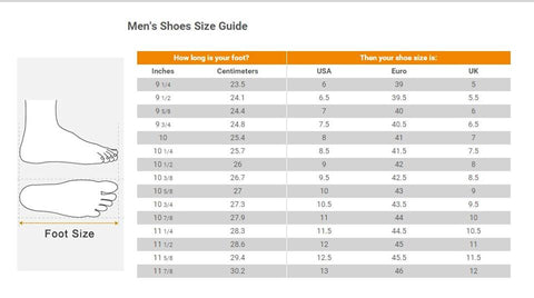 Foot wear size chart