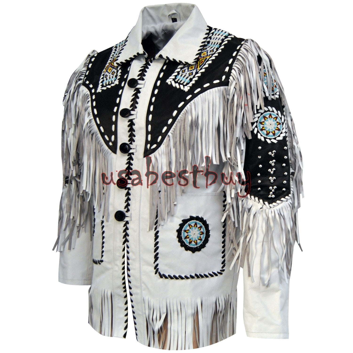 Handmade Men White Cow Leather Western Cowboy Jacket With Fringe, Bone and Beads