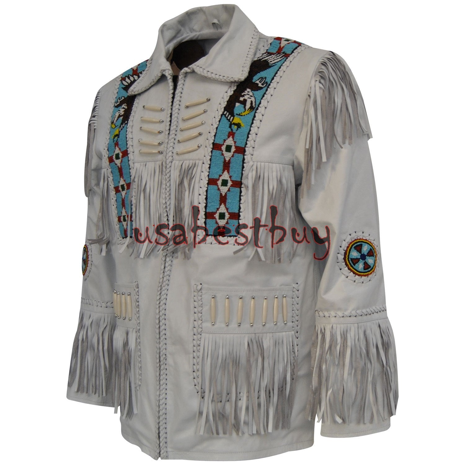 Handmade Men White Leather Western Cowboy Jacket With Fringe, Bone and Beads