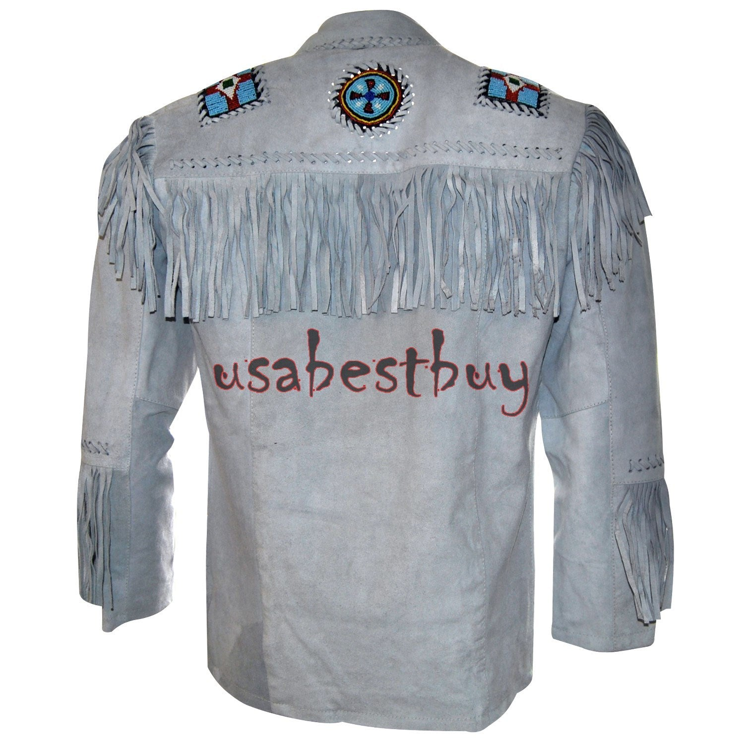 Handmade New Men White Leather Western Cowboy Jacket With Fringe, Bone and Beads
