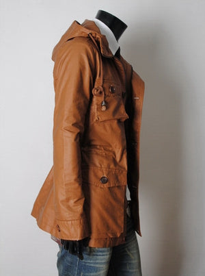 Handmade New Men Stylish Chic Brown Long Leather Jacket, Men Leather jacket