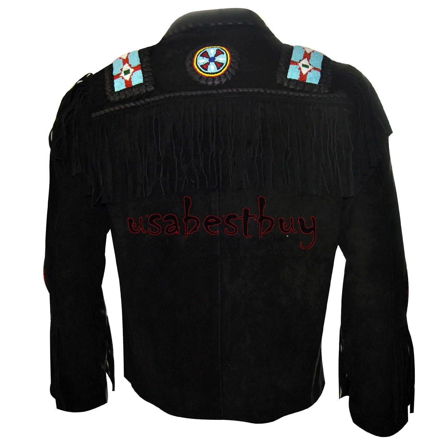 New Men Black Suede Leather Western Cowboy Jacket With Fringe, Bone and Beads