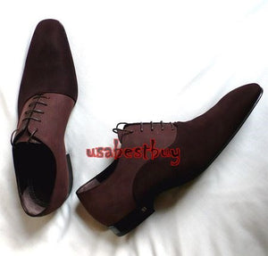 New Handmade New Style Brown Suede and Plan Leather Shoes, Men real leather shoe