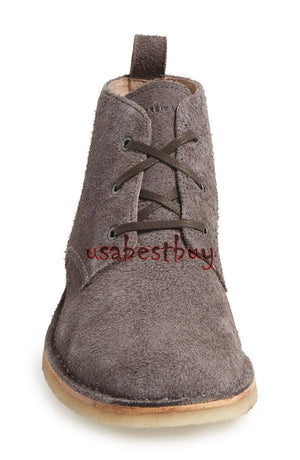 New Handmade Chukka Style Gray Suede Leather Boots with Crepe Sole, Suede Boots