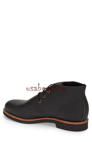New Handmade Chukka Fine Genuine Leather Boots, Men Black leather boots