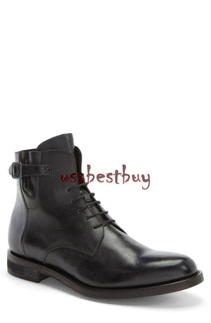 New Handmade Simple Style Genuine Leather Boots, Men Black leather strip boots