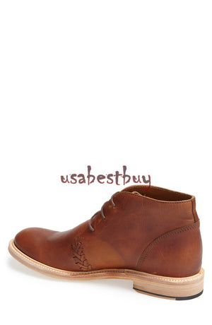 New Handmade Chukka Simple Style Brown Leather Boots, Men real leather boots